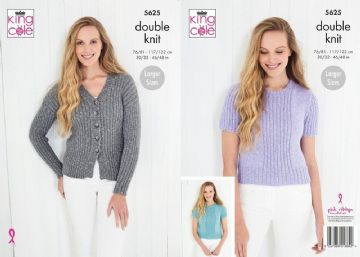 King Cole 5625 Knitting Pattern Womens Cardigan and Tops in King Cole Cotton Top DK